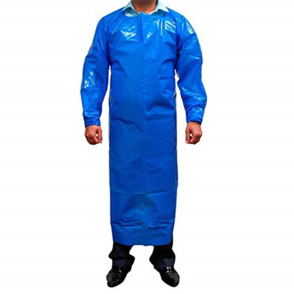 PEVA Apron, Polyethylene Vinyl Acetate Open Back for Easy Removal, Waterproof and Disposable in Blue