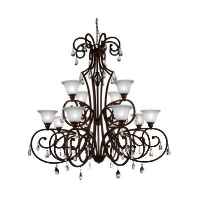 Shakira 12-Light Dark Bronze Chandelier with White shade