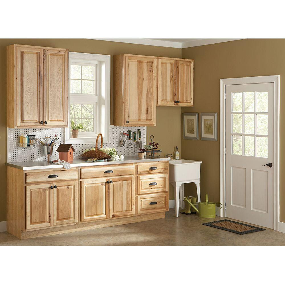 hampton bay hampton assembled in sink base kitchen cabinet in natural hickory ksb36. Black Bedroom Furniture Sets. Home Design Ideas