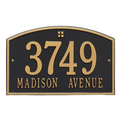 Cape Charles Standard Rectangular Black/GoldWall 2-Line Address Plaque