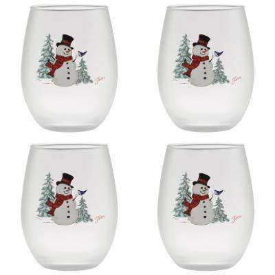 15 oz. Snowman Frosted Stemless Wine Glass