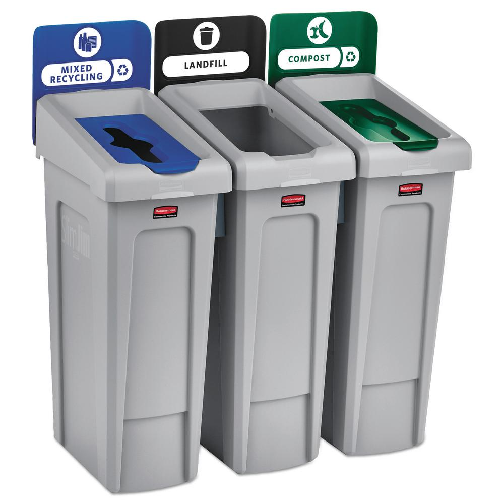 Rubbermaid Commercial Products 69 Gal Slim Jim Recycling Station
