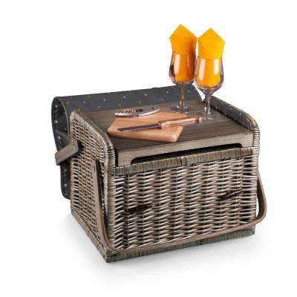 Kabrio Natural Wood Wine & Cheese Basket