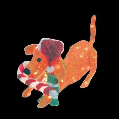 31.5 in. 105-Light 3D Snowy Soft Puppy Dog with Candy Cane