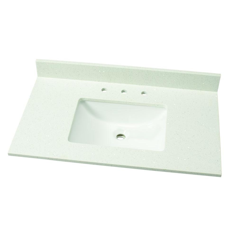 37 In. W Quartz Single Vanity Top In Sparkling White With White Basin