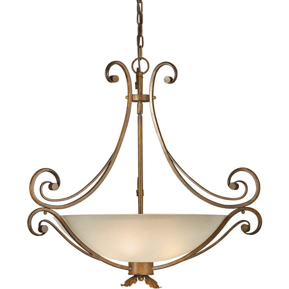 Forte Lighting 4-Light Rustic Sienna Bowl Pendant with Shaded Umber Glass
