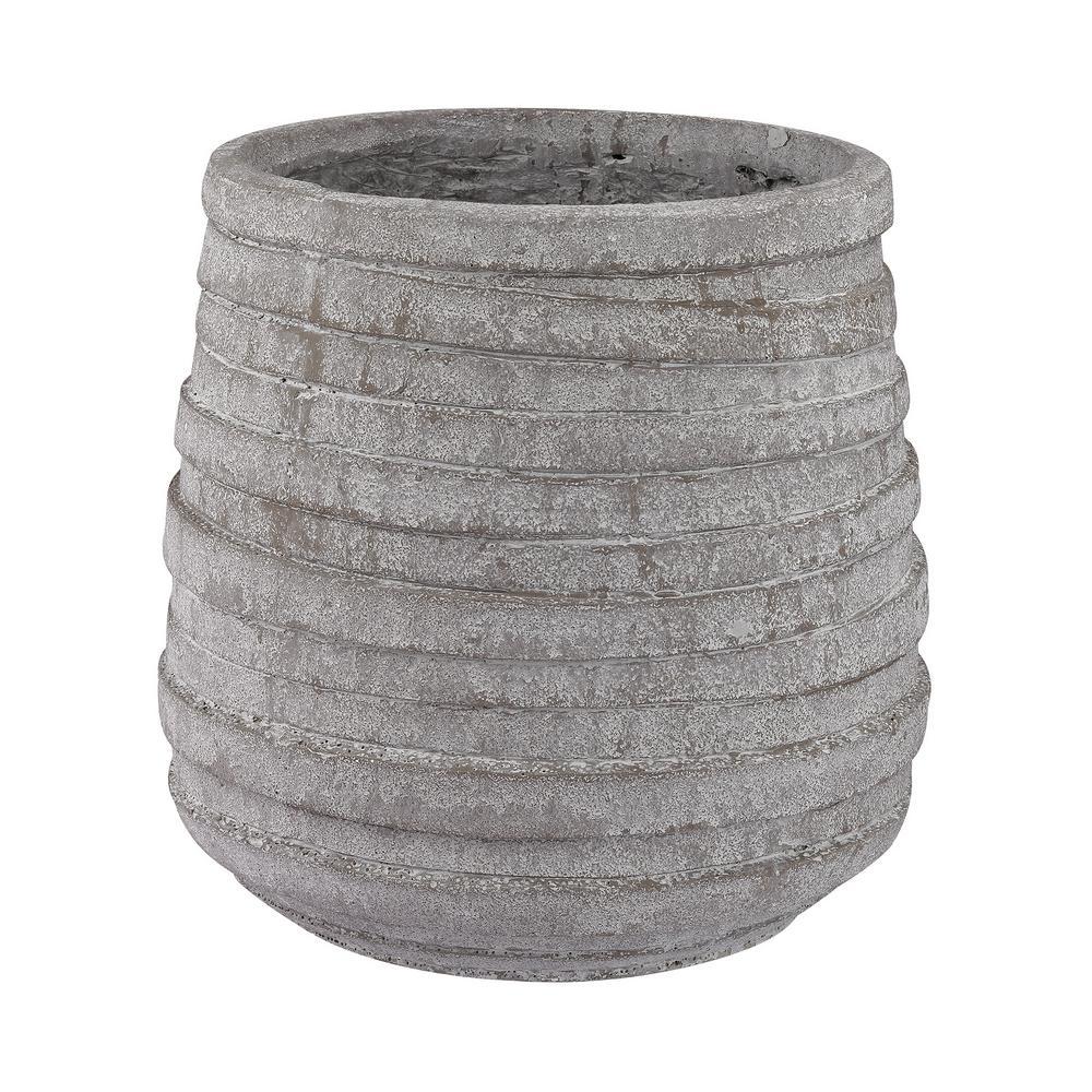 Corrugated 14 in. Earthenware Decorative Vase in Barn Gray