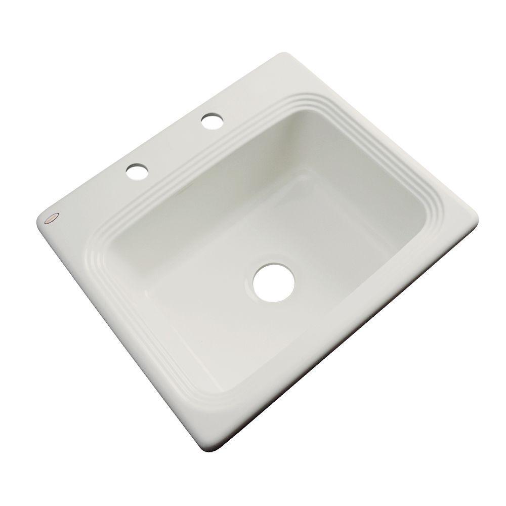 Rochester Drop-In Acrylic 25 in. 2-Hole Single Basin Kitchen Sink in Tender Grey