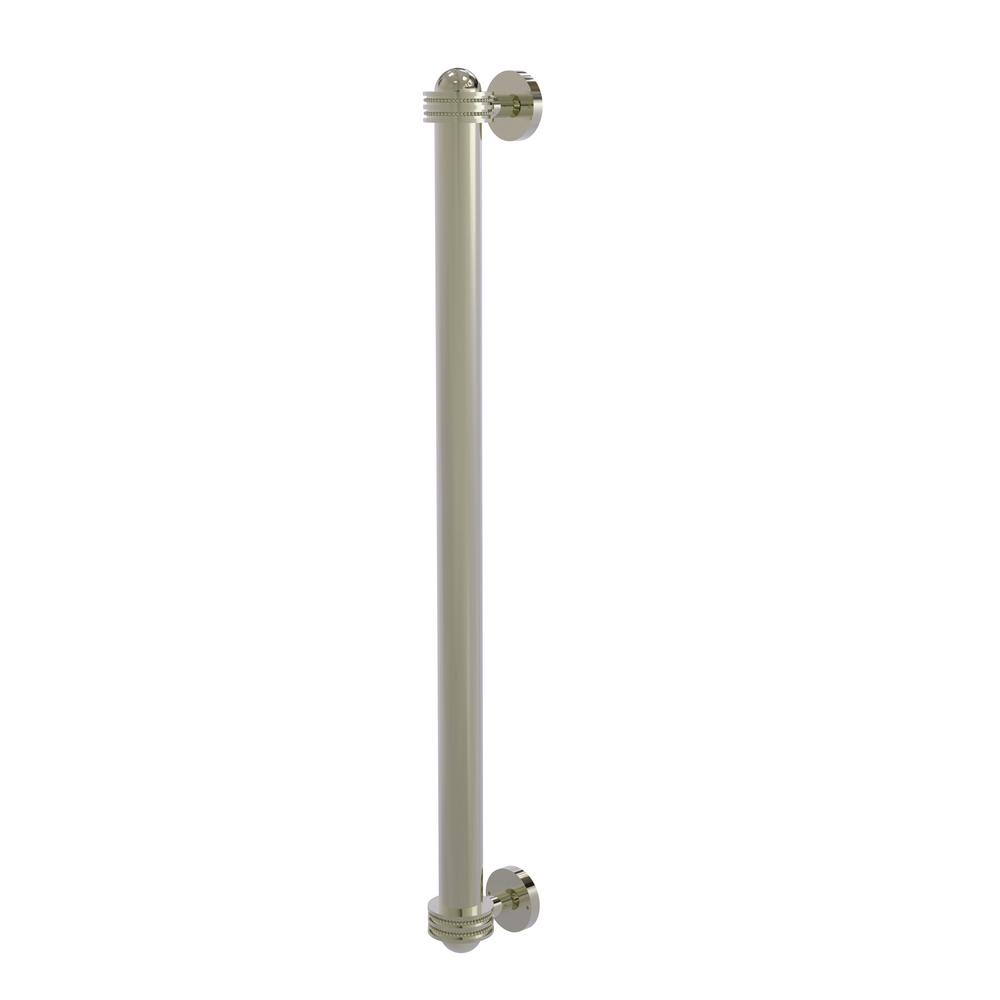 Allied Brass 18 in. Center-to-Center Refrigerator Pull with Dotted Aents in Polished Nickel Transform your kitchen with this elegant Refrigerator and Appliance Pull. This pull is designed for replacing the pulls or handles on your built-in refrigerator, freezer or any other built in appliance. Appliance pull is made of solid brass and provided with a lifetime finish to insure products will provide a lifetime of service.