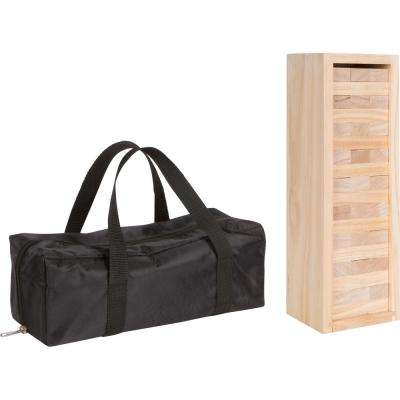 12 in. 54-Piece Wooden Stacking Puzzle Game with Wood Box and Carry Case