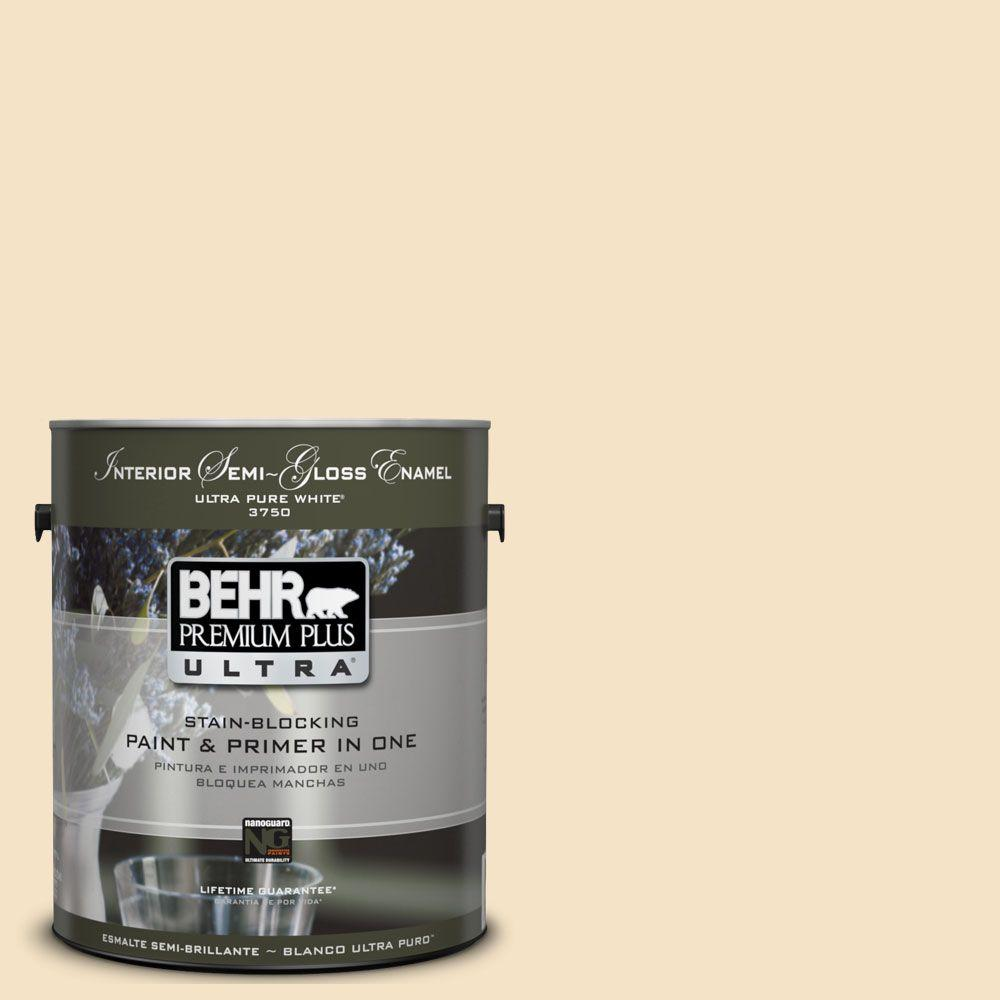 BEHR Premium Plus Ultra 1-gal. #UL180-17 Cream Puff Semi-Gloss Enamel Interior Paint