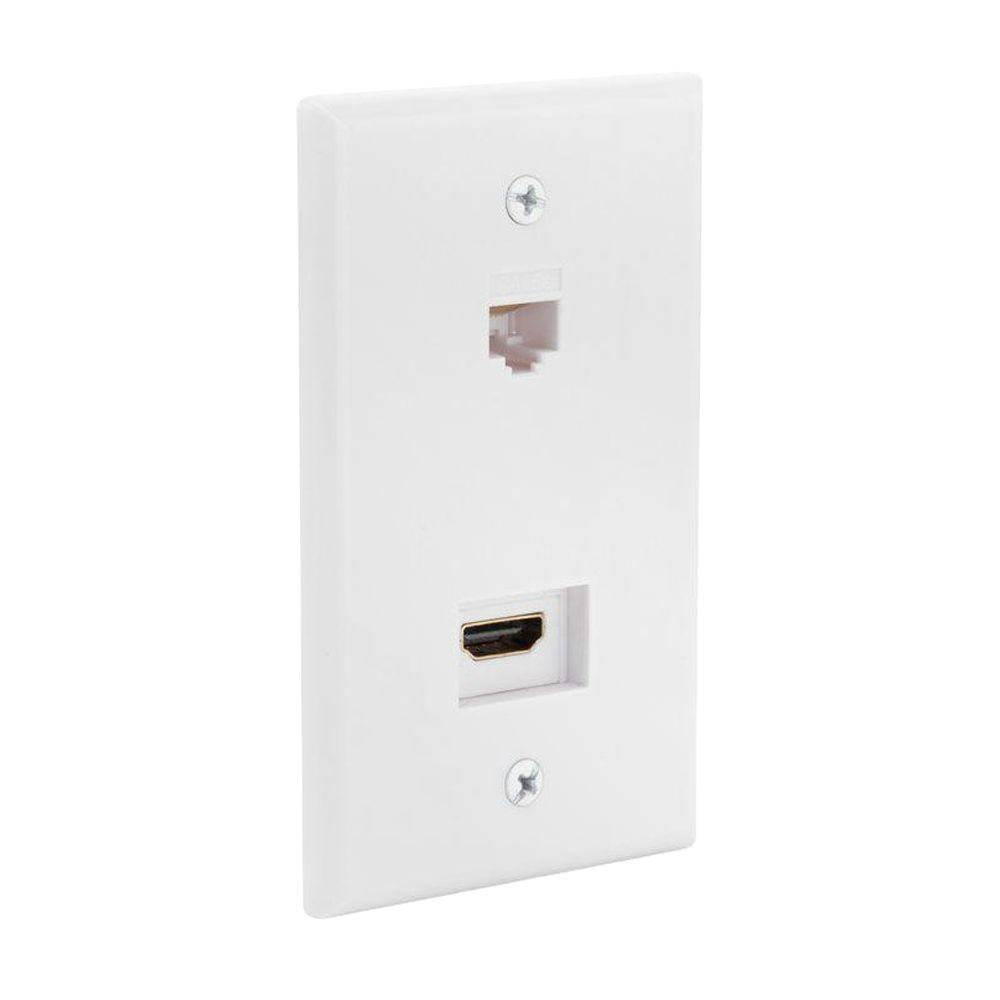CE TECH HDMI and Ethernet Wall Plate - White