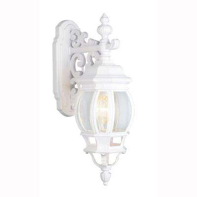Filigree 1-Light Outdoor White Coach Lantern with Clear Glass