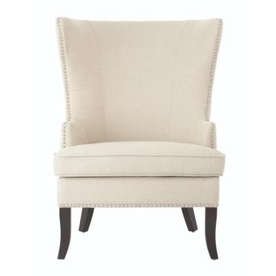 Moore Linen Oatmeal Wing Back Chair