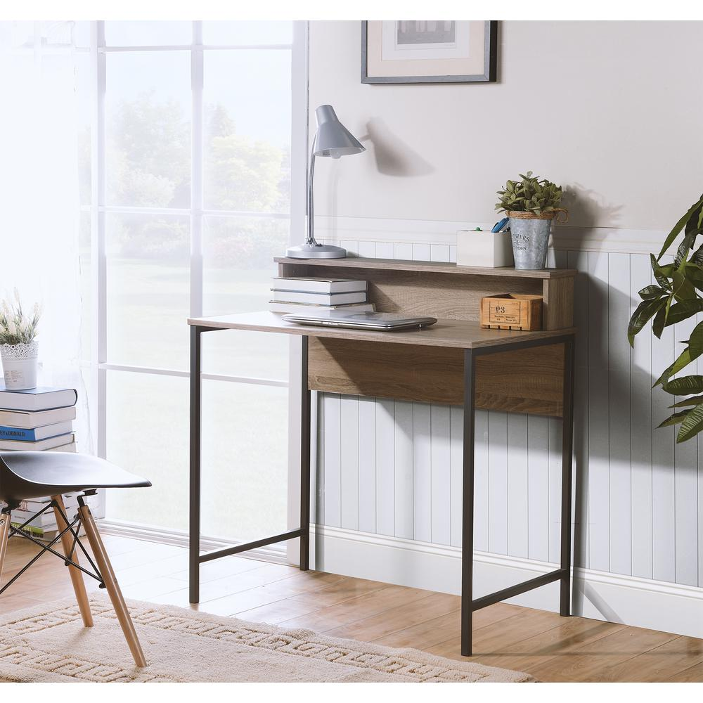 Homestar Ania Computer Desk With Hutch In Reclaimed Wood Finish