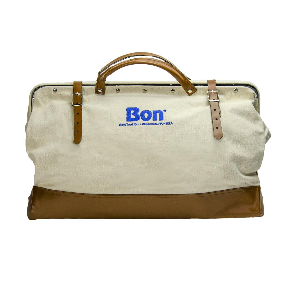 Bon Tool 24 In Canvas Bag With Leather Bottom
