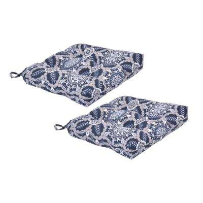 Black Tile Square Tufted Outdoor Seat Cushion (2-Pack)