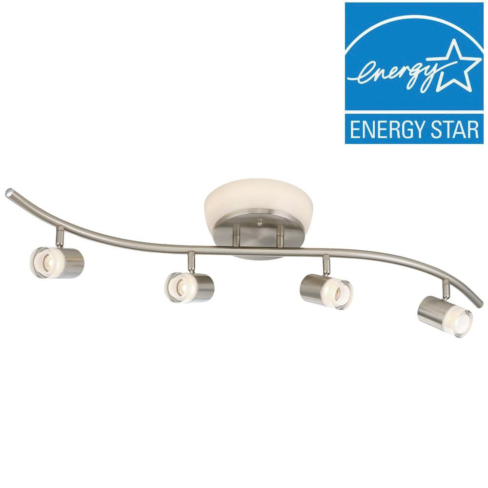 Envirolite brushed nickel led ceiling mounted flushmount and track envirolite brushed nickel led ceiling mounted flushmount and track combo with frosted shades arubaitofo Gallery