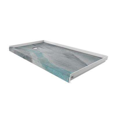 32 in. x 60 in. Single Threshold Shower Base with Left Hand Drain in Triton
