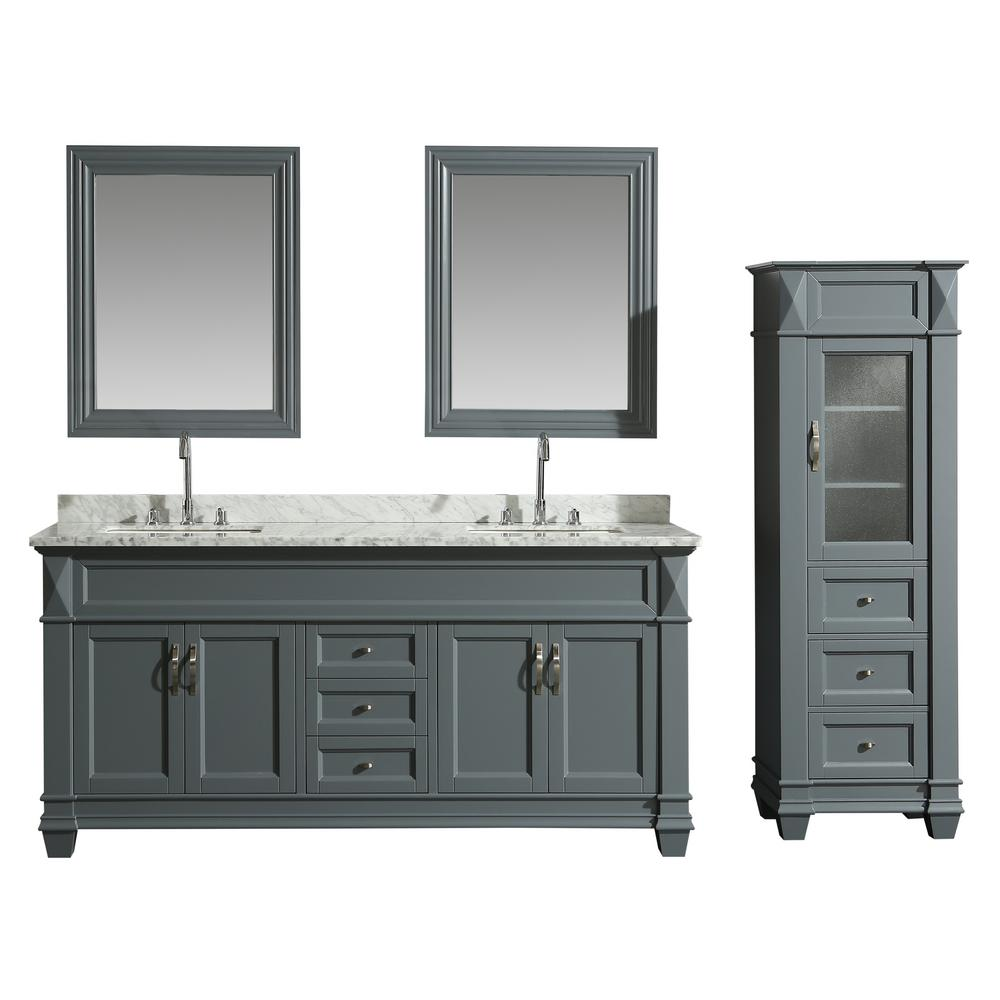 Design Element 72 In W X 22 In D Bath Vanity In Gray With Marble