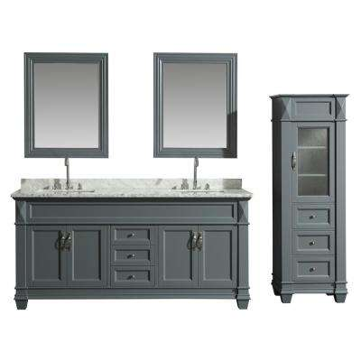 72 in. W x 22 in. D Bath Vanity in Gray with Marble Vanity Top in White with White Basin, Mirror and Linen Cabinet