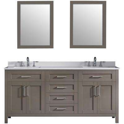 Tahoe 72 in. W x 21 in. D Bath Vanity in Saddle Brown with Quartz Vanity top in White with White Basins and Mirrors