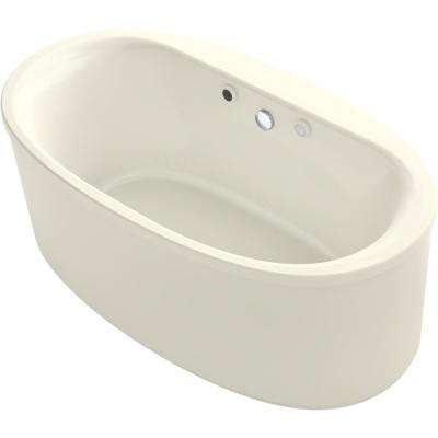 Sunstruck 60 in. Acrylic Flatbottom Air Bath Bathtub with Straight Shroud and Basked Heated Surface in Biscuit