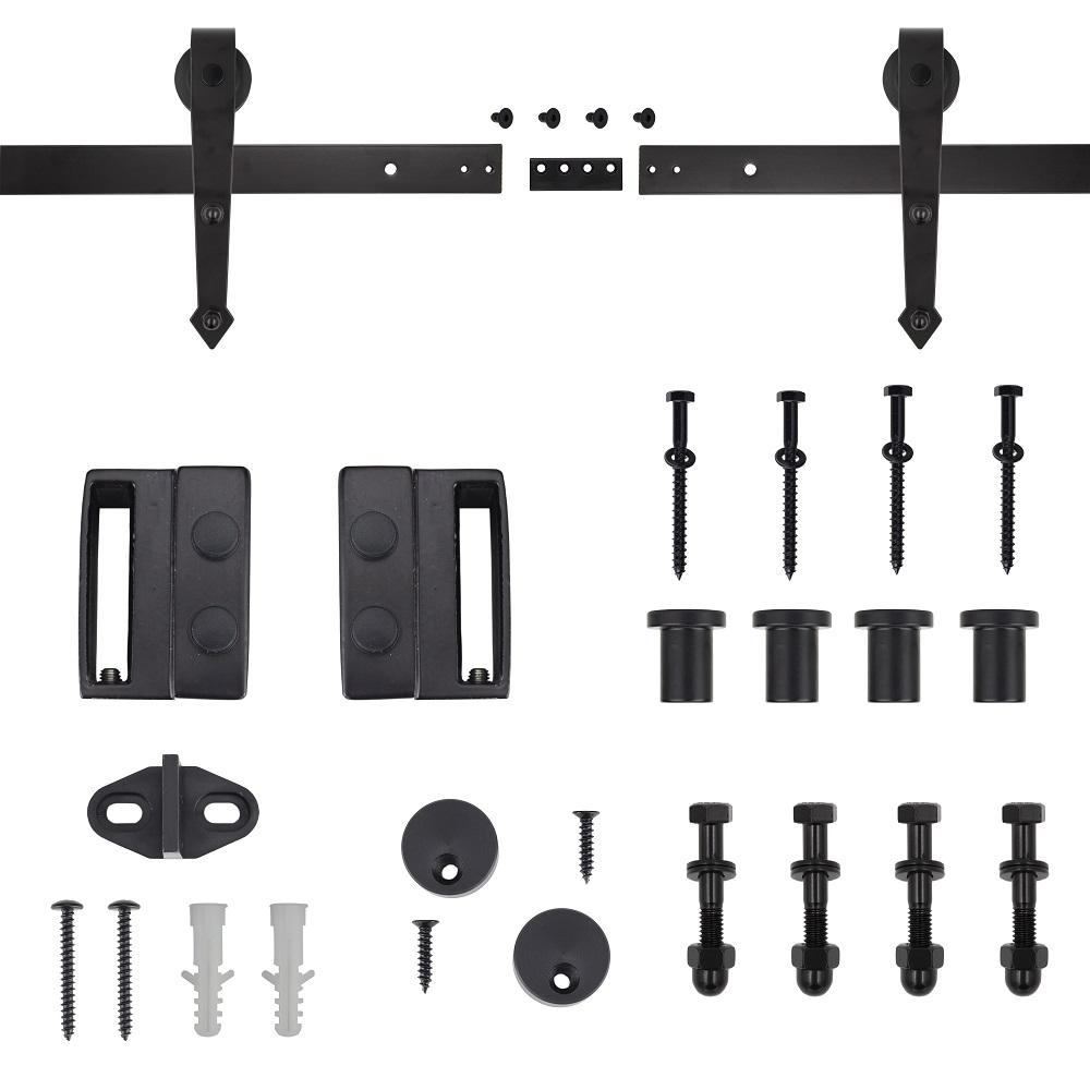72 in. Dark Oil-Rubbed Bronze Arrow Sliding Barn Door Track and