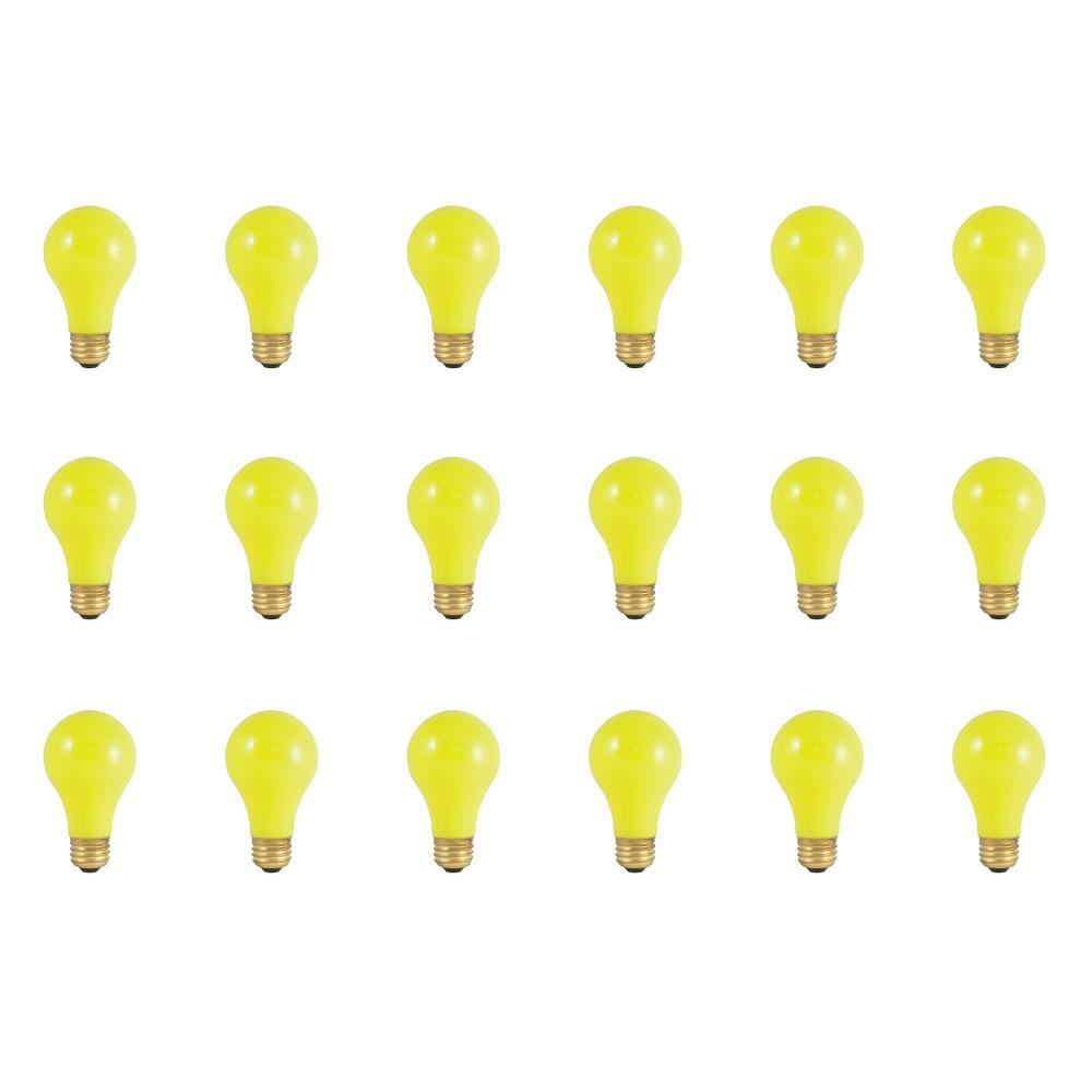 60-Watt A19 Ceramic Yellow Dimmable Incandescent Light Bulb (18-Pack)