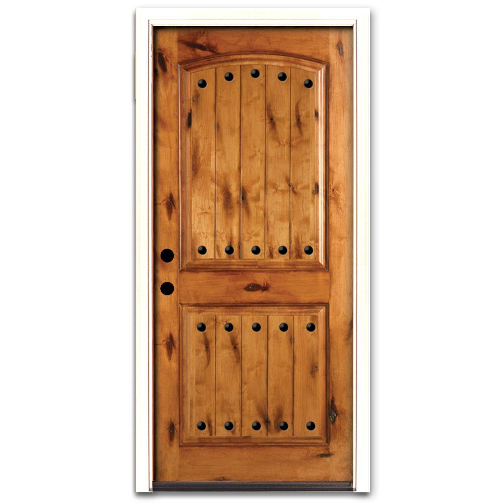 Steves & Sons Rustic 2-Panel Plank Stained Knotty Alder Wood Prehung Front Door-DISCONTINUED