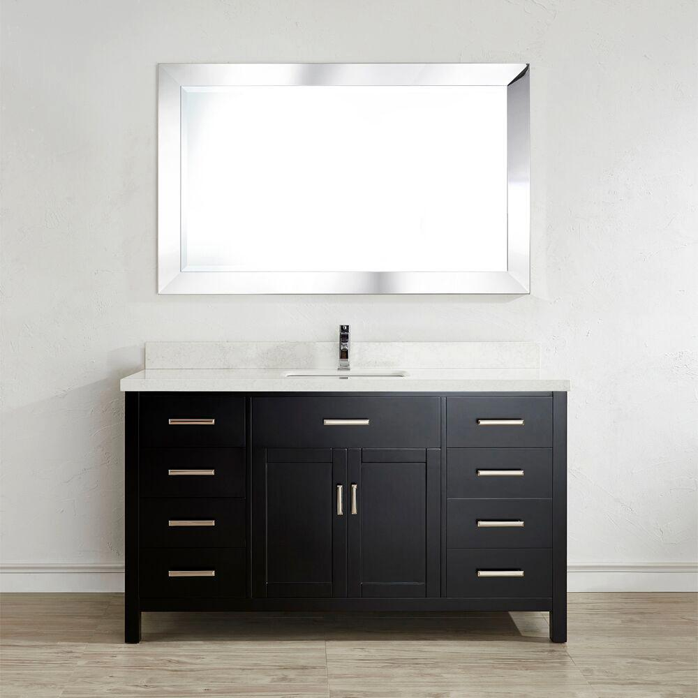 Studio Bathe Kalize II 60 in. W x 22 in. D Vanity in Espresso with Engineered Vanity Top in White with White Basin and Mirror