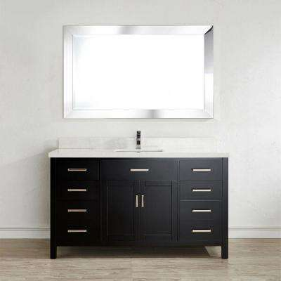 Kalize II 60 in. W x 22 in. D Vanity in Espresso with Engineered Vanity Top in White with White Basin and Mirror