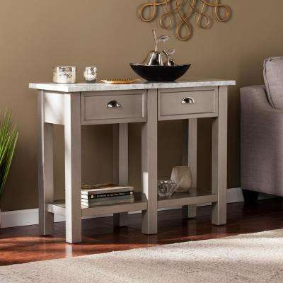 Bella Warm Gray Faux Marble Console Table