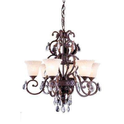Troy 6-Light Gilded Umber Chandelier with Clear Crystal