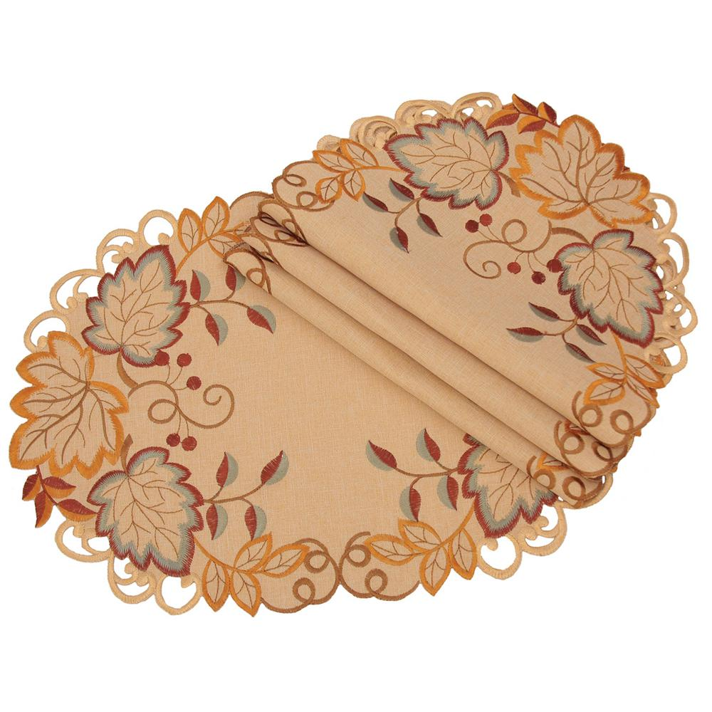 Xia Home Fashions 0.1 in. H x 13 in. W x 19 in. D Harvest Verdure Embroidered Cutwork Fall Placemats (Set of 4)