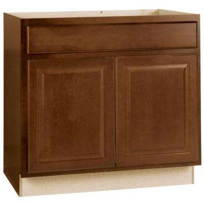 Hampton Assembled 36x34.5x24 in. Sink Base Kitchen Cabinet in Cognac