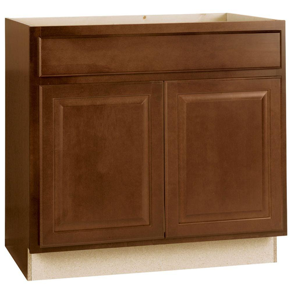 new concept a0010 3669b Hampton Bay Hampton Assembled 36x34.5x24 in. Sink Base Kitchen Cabinet in  Cognac