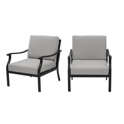Riley Black Steel Outdoor Patio Lounge Chair with CushionGuard Stone Gray Cushions (2-Pack)