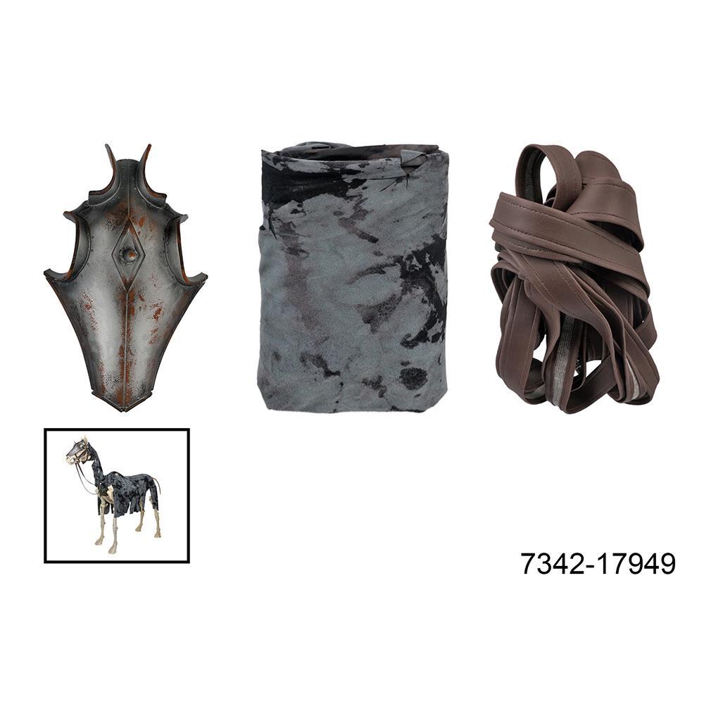 Dress Up Accessory For Skeleton Horse including Mask, Black Cloak, Bride
