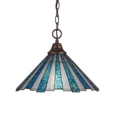 1-Light Bronze Pendant with 16 in. Sea Ice TiffGlass Glass
