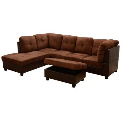 Chocolate Microfiber 3-Seater Left-Facing Chaise Sectional Sofa with Ottoman