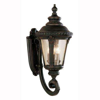 Breeze Way 3-Light Rust Outdoor Coach Lantern with Seeded Glass