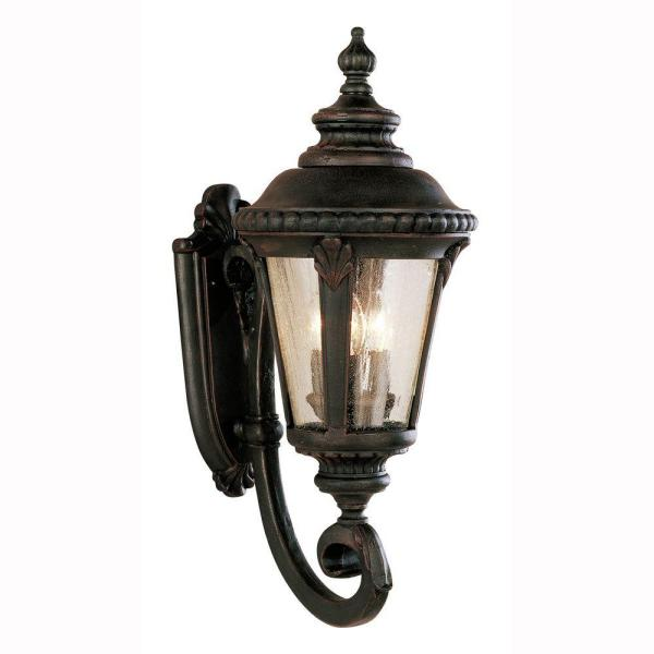 Bel Air Lighting Commons 3 Light Rust Outdoor Wall Lantern Sconce With Seeded Glass 5041 Rt The Home Depot