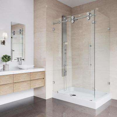 Merveilleux Frameless Bypass Shower Enclosure In Stainless Steel And