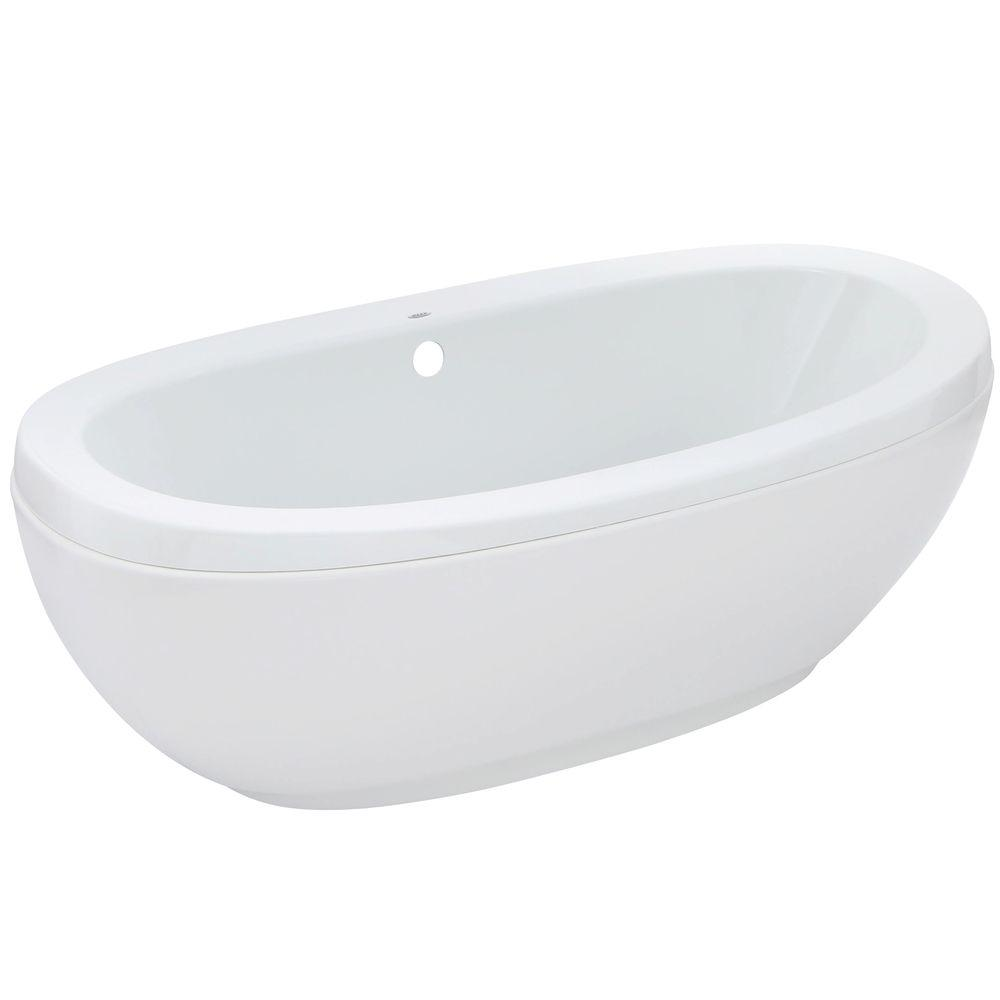 MAAX Romance 66 In. Acrylic Center Drain Non Whirlpool Flatbottom  Freestanding Bathtub In White