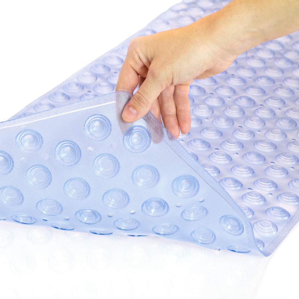 Light Blue Tray No Position Safety Bath Mat Bath Mat Stone Effect 68x35cm