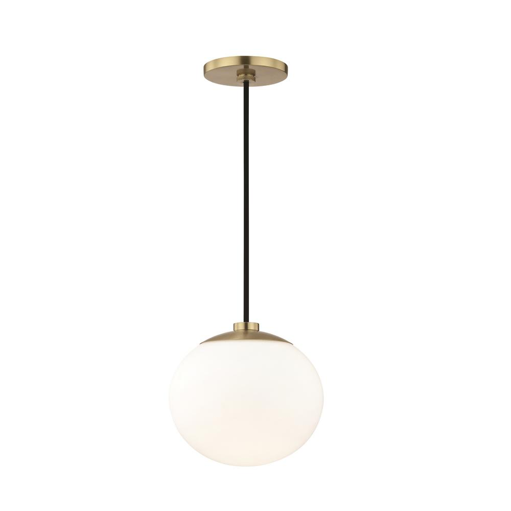 Estee 1-Light Aged Brass Pendant with Opal Etched Glass