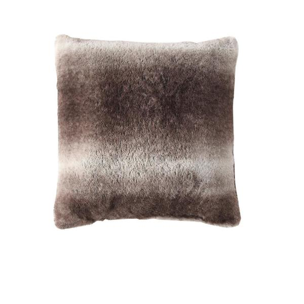 Morgan Home Millburn Faux Fur Brown Solid Faux Fur Polyester in. x 18 in. Throw Pillow