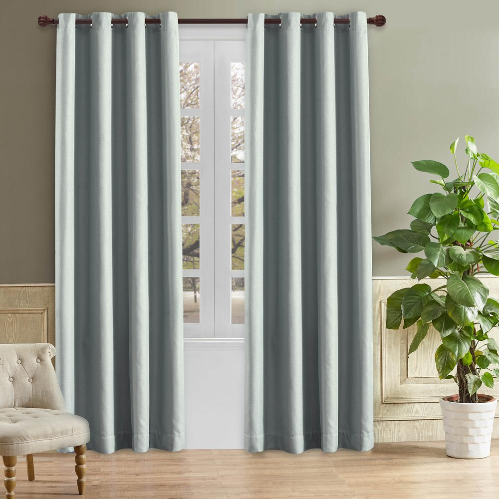 Lyndale Decor Odyssey 126 in. L x 52 in. W Blackout Polyester Curtain in Grey Mist