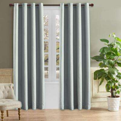 Odyssey Blackout Polyester Curtain in Grey Mist - 84 in. L x 52 in. W
